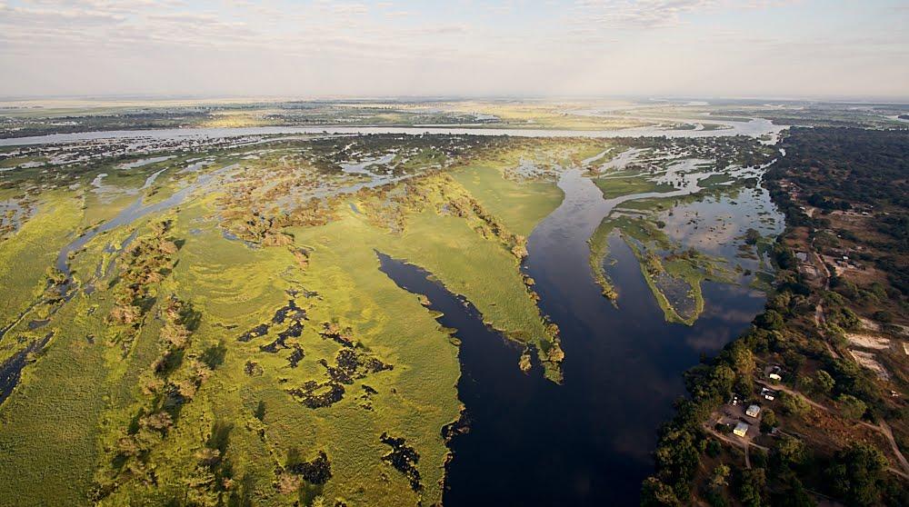 Birds eye view of the Zambezi River