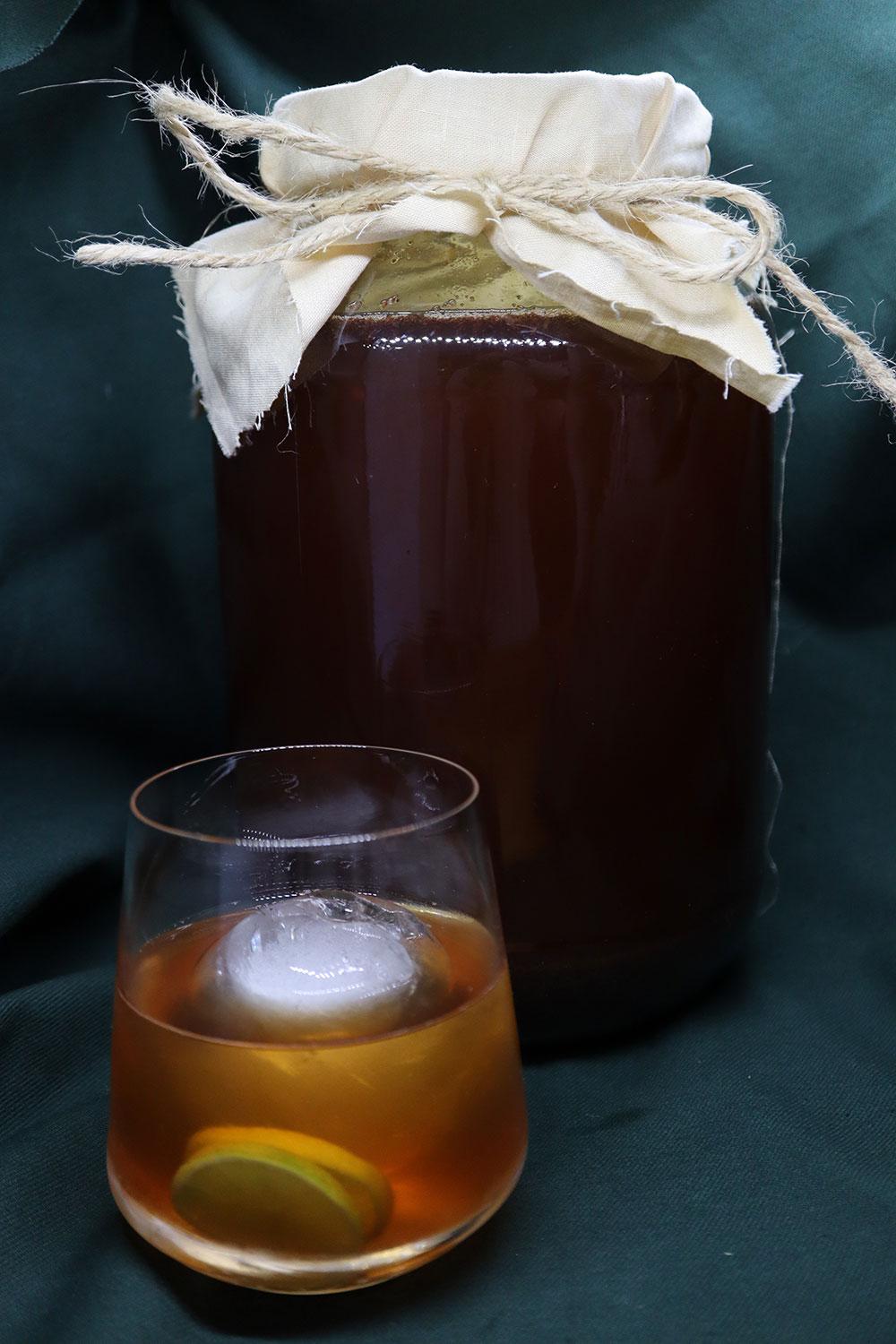Kombucha honeybush home brew in a glass jar.